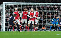 Football - 2016 / 2017 UEFA Champions League - Group A: Arsenal vs. Paris Saint-Germain<br /> <br /> Lucas of PSG with a free kick, hits the crossbar at The Emirates.<br /> <br /> COLORSPORT/ANDREW COWIE