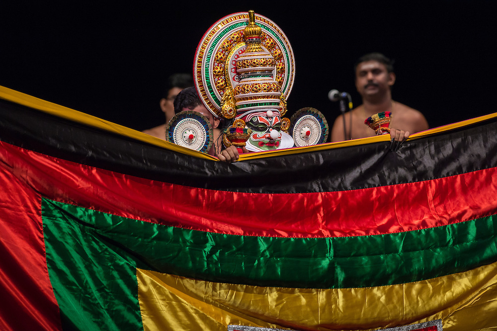 "Kalamandalam Soorianarayanan as Duryodhana, Kerala Kalamandalam Kathakali Troupe, ""Sounds of India"" Sunday, Oct. 30, 5 pm, Gerald W. Lynch Theater , part of Lincoln Center's White Light Festival"