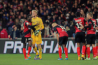 JOIE GUINGAMP  / Benjamin BROU ANGOUA et Jonas LOSSL   - 14.12.2014 - Guingamp / PSG - 18eme journee de Ligue1<br /> Photo : Vincent Michel / Icon Sport *** Local Caption ***