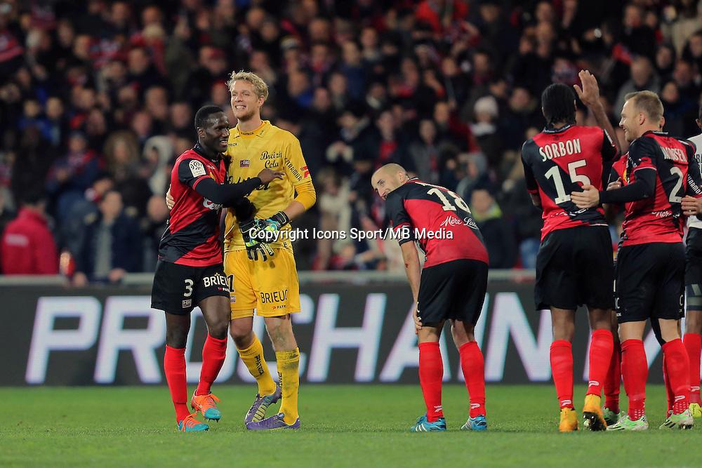 JOIE GUINGAMP  / Benjamin BROU ANGOUA et Jonas LOSSL   - 14.12.2014 - Guingamp / PSG - 18eme journee de Ligue1<br /> Photo : Vincent Michel / Icon Sport *** Local Caption ***