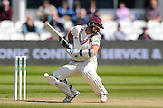 Somerset's Tim Groenewald tries to avoid a short ball from Lancashire's James Anderson during the Specsavers County Champ Div 1 match between Somerset County Cricket Club and Lancashire County Cricket Club at the County Ground, Taunton, United Kingdom on 4 May 2016. Photo by Graham Hunt.