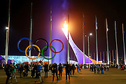 """Olympic Logo Mark,<br /> FEBRUARY 7, 2014 - Opening Ceremony : <br /> during the Opening Ceremony for The 2014 Olympic Winter Games <br /> at """"FISHT"""" Olympic Stadium <br /> during the Sochi 2014 Olympic Winter Games in Sochi, Russia. <br /> (Photo by Yohei Osada/AFLO SPORT)"""