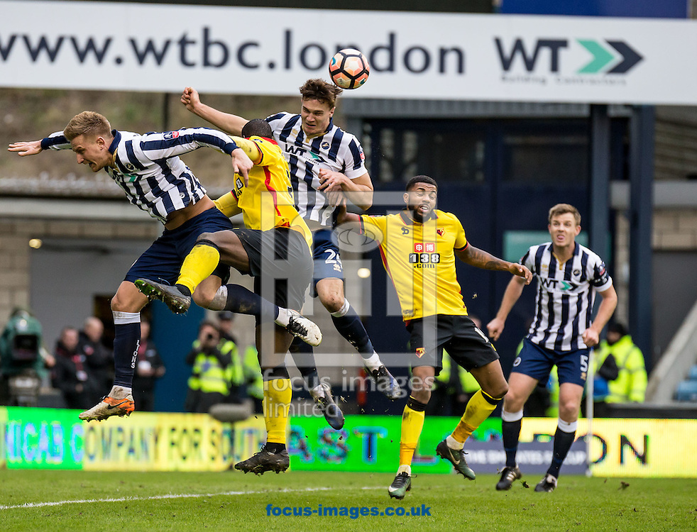 Jake Cooper of Millwall clears during the FA Cup match at The Den, London<br /> Picture by Liam McAvoy/Focus Images Ltd 07413 543156<br /> 29/01/2017