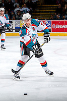 KELOWNA, CANADA - APRIL 19: Damon Severson #7 of the Kelowna Rockets passes the puck against the Portland Winterhawks on April 18, 2014 during Game 2 of the third round of WHL Playoffs at Prospera Place in Kelowna, British Columbia, Canada.   (Photo by Marissa Baecker/Shoot the Breeze)  *** Local Caption *** Damon Severson;