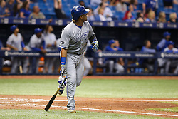 May 9, 2017 - St. Petersburg, Florida, U.S. - WILL VRAGOVIC   |   Times.Kansas City Royals catcher Salvador Perez (13) watches his two run home run head for the wall in the sixth inning of the game between the Kansas City Royals and the Tampa Bay Rays at Tropicana Field in St. Petersburg, Fla. on Tuesday, May 9, 2017. (Credit Image: © Will Vragovic/Tampa Bay Times via ZUMA Wire)