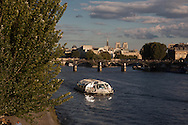 France. Paris. Seine river quays. bateau mouche on the seine river Paris / bateau mouche sur la seine