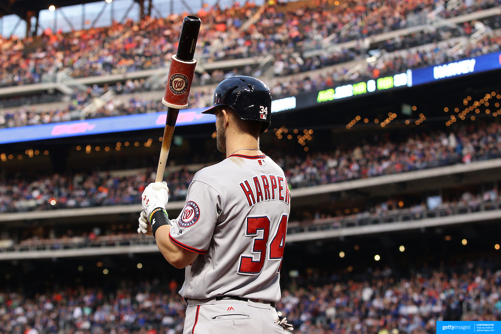 NEW YORK, NEW YORK - May 19: Bryce Harper #34 of the Washington Nationals preparing to bat during the Washington Nationals Vs New York Mets regular season MLB game at Citi Field on May 19, 2016 in New York City. (Photo by Tim Clayton/Corbis via Getty Images)