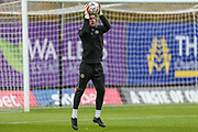 Forest Green Rovers goalkeeper James Montgomery warming up during the The FA Cup 1st round match between Oxford United and Forest Green Rovers at the Kassam Stadium, Oxford, England on 10 November 2018.
