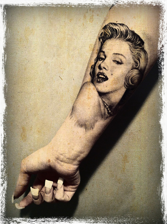 tattoo of marylin monroe on forearm of girl cellphone photography,Iphone pictures,smartphone pictures