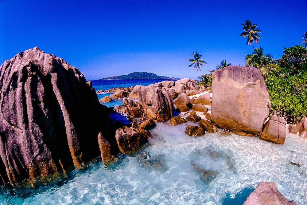 La Digue, Seychelles --- Rocks Encircling Lagoon