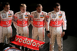 STUTTGART, GERMANY - Monday, January 7, 2008: Drivers Lewis Hamilton and Heikki Kovalainen and test drivers Gary Paffett and Pedro de la Rosa at the launch of the Vodafone McLaren Mercedes MP4-23 Formula One car for the 2008 season at the Mecedez-Benz museum in Stuttgart. (Photo by Michael Kunkel/Hochzwei/Propaganda)