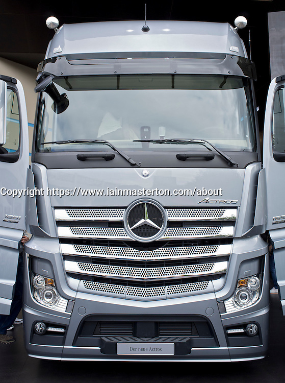 Mercedes Actros truck at Frankfurt Motor Show or IAA 2011 in Germany