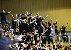 Supporters of Partizan during basketballl match between KK Petrol Olimpija Ljubljana and KK Partizan NIS mts in Round #20 of ABA League 2017/18, on February 10, 2018 in Tivoli sports hall, Ljubljana, Slovenia. Photo by Vid Ponikvar / Sportida