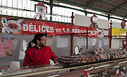 Rennes, FRANCE. General Views GV's. Rennes weekly regional market. Brittany,<br /> Vegetable's, Fruit, Flowers, Fish, Game, Meat, Cheese, local wine and cider, sold from stalls in the open and covered market  <br /> <br /> 09:18:09  Saturday  26/04/2014 <br /> <br />  [Mandatory Credit: Peter Spurrier/Intersport<br /> Images]