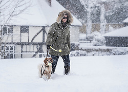 © Licensed to London News Pictures. 27/02/2018. Bearsted, UK. A resident of Bearsted in Kent walks her dog across the green as snow continues to fall. Freezing temperatures and heavy snow are affecting large parts of Kent.  Photo credit: Peter Macdiarmid/LNP