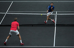 September 24, 2017 - Prague, Czech Republic - Team Europe players Tomas Berdych and Marin Cilic plays against Team World players Jack Sock and John Isner during the third day at Laver Cup on Sept 24, 2017 in Prague, Czech Republic. (Credit Image: © Robert Szaniszlo/NurPhoto via ZUMA Press)