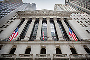 The facade, front of the building of the New York Stock Exchange, NYSE Euronext.