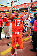 UM quarterback Stephen Morris celebrates after defeating the University of Florida Gators at Sun Life Stadium in Miami Gardens on Saturday, September 7, 2013.