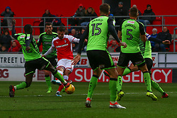 Anthony Forde of Rotherham United's shoots at goal is deflected by Toumani Diagouraga of Plymouth Argyle - Mandatory by-line: Ryan Crockett/JMP - 16/12/2017 - FOOTBALL - Aesseal New York Stadium - Rotherham, England - Rotherham United v Plymouth Argyle - Sky Bet League One