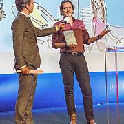 """NLD/Hilversum/20160110 - NOS Journaal bestaat60 jaar en viert dit met Festival van het Nieuws, Rik van de Westelaken en schrijver van het boek """"achter de schermen"""" Jan Paul Schulten"""