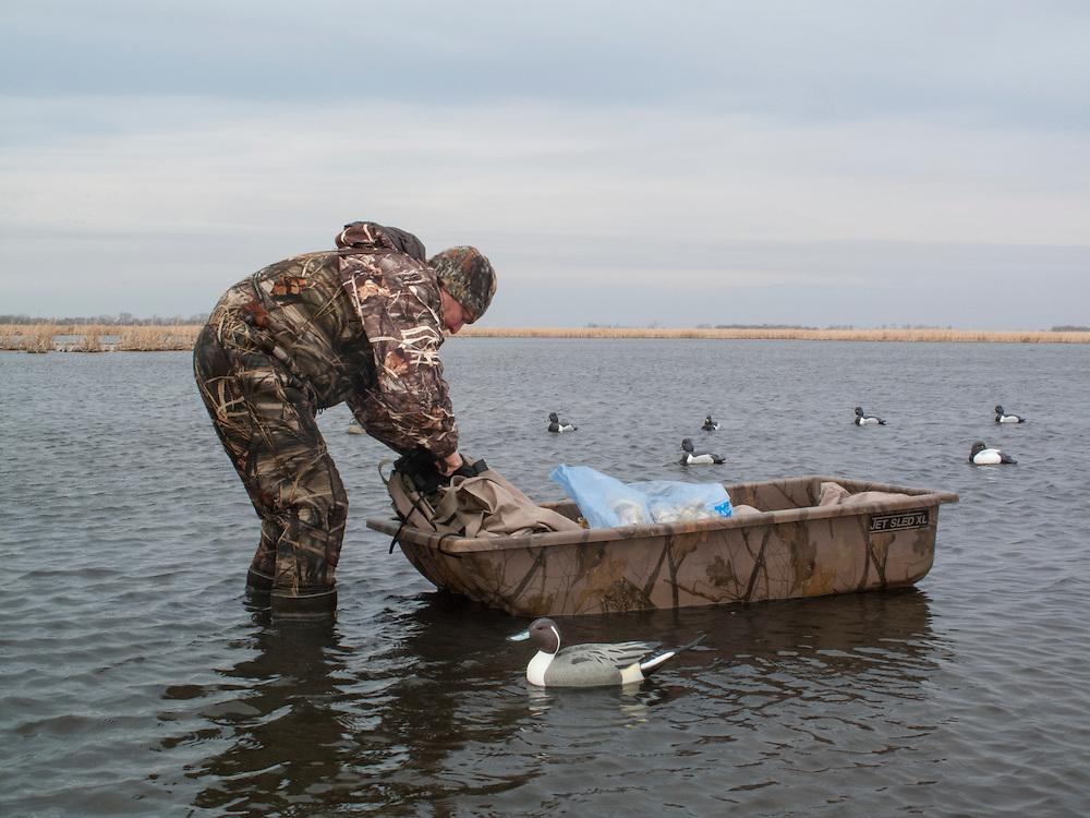 Hunter & decoys, Brown County, South Dakota