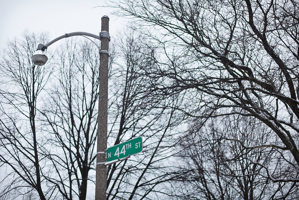 MILWAUKEE, WI – DECEMBER 16: A street sign on the 3200 block of N. 44th Street in Milwaukee on Friday, December 16, 2016, the street where Sylville Smith was shot by Milwaukee Police officer Dominique Heaggan-Brown on August 13.
