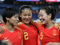 2019?6?13?.   ???????????——B??????????.    6?13???????????????.    ???????????2019??????????B?????????0?1??????.   ?????????..(190613) -- PARIS, June 13, 2019  Players of China celebrate after the group B match between South Africa and China at the 2019 FIFA Women's World Cup in Paris, France, June 13, 2019. South Africa lost 0-1. (Credit Image: © Xinhua via ZUMA Wire)