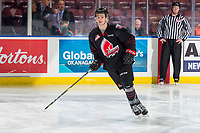 KELOWNA, BC - JANUARY 16: Brayden Tracey #7 of the Moose Jaw Warriors warms up against the Kelowna Rockets at Prospera Place on January 16, 2019 in Kelowna, Canada. (Photo by Marissa Baecker/Getty Images)