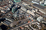 Nederland, Noord-Brabant, Eindhoven, 07-03-2010; stationsgebied in de binnenstad, Centraal Station met omgeving. Vanaf midden links (naar boven) Vestdijk en 17 en 18 Septemberplein. Onder in beeld de Tramstraat..Downtown area with central station and immediate environment..luchtfoto (toeslag), aerial photo (additional fee required).foto/photo Siebe Swart