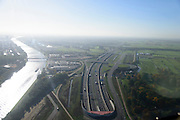 Nederland, Utrecht, Utrecht, 24-10-2013;<br /> Rijksweg A2 en de zuidelijke ingang van de  Leidsche Rijntunnel, een landtunnel die de verkeersoverlast, luchtvervuiling en geluidsoverlast voor Utrecht en de Vinexwijk Leidsche Rijn moet verminderen. Links het Amsterdam-Rijnkanaal. Stadsbaan rechts van de tunnel.<br /> Roadway A2 and the southern entrance to the tunnel Leidsche Rijn, a landtunnel built to decrease the nuisance of traffic noise and air pollution for the city of Utrecht and the suburb Leidsche Rijn. Left the Amsterdam-Rhine Canal.<br /> luchtfoto (toeslag op standaard tarieven);<br /> aerial photo (additional fee required);<br /> copyright foto/photo Siebe Swart.