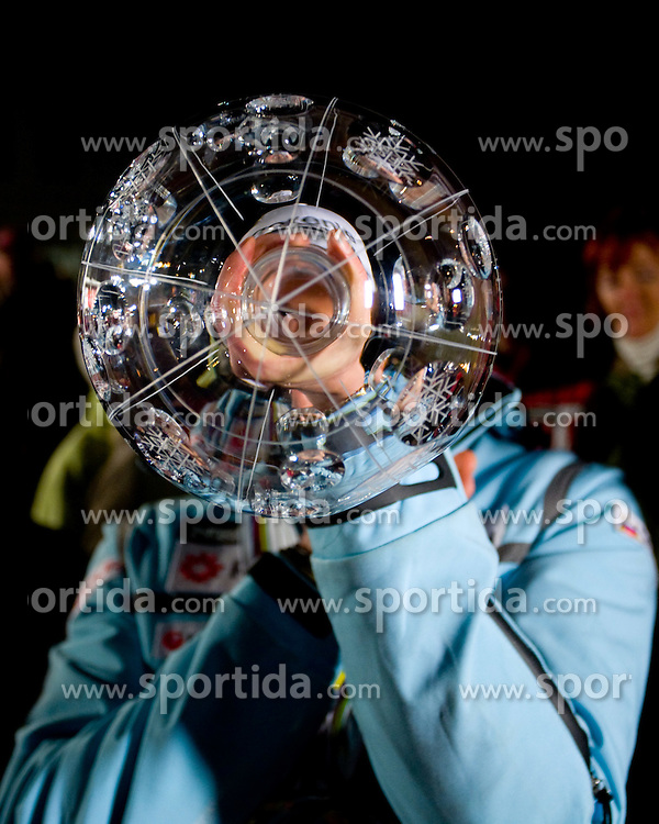Slovenian athlete Petra Majdic playing with her cup at her home town when she arrived home with small cristal globus at the end of the nordic season 2008/2009, on March 24, 2009, in Dol pri Ljubljani, Slovenia. (Photo by Vid Ponikvar / Sportida)