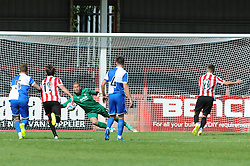 Steve Mildenhall of Bristol Rovers saves a penalty by Billy Waters of Cheltenham Town - Mandatory by-line: Dougie Allward/JMP - 25/07/2015 - SPORT - FOOTBALL - Cheltenham Town,England - Whaddon Road - Cheltenham Town v Bristol Rovers - Pre-Season Friendly