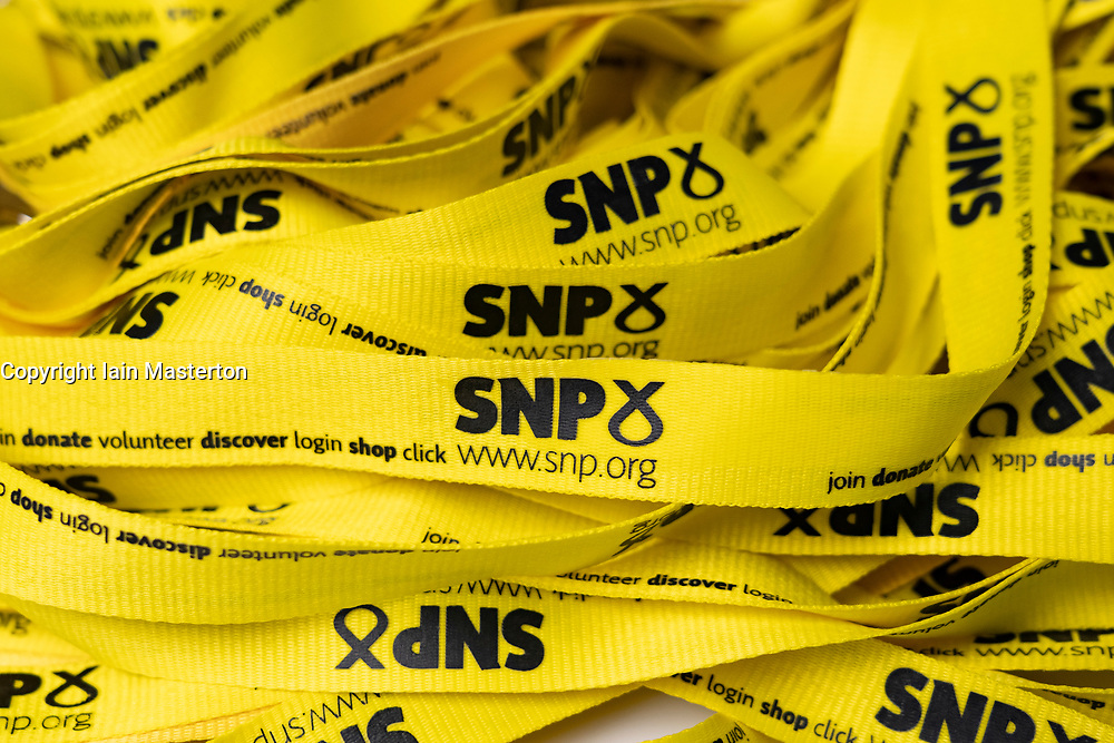 Edinburgh, Scotland, UK. 28 April, 2019. Day 2 of thee SNP ( Scottish National Party) Spring Conference takes place at the EICC ( Edinburgh International Conference Centre) in Edinburgh. Pictured; SNP logos on yellow party lanyards at the conference