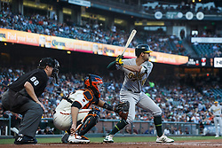 SAN FRANCISCO, CA - AUGUST 13: Chad Pinder #18 of the Oakland Athletics at bat against the San Francisco Giants during the second inning at Oracle Park on August 13, 2019 in San Francisco, California. The San Francisco Giants defeated the Oakland Athletics 3-2. (Photo by Jason O. Watson/Getty Images) *** Local Caption *** Chad Pinder