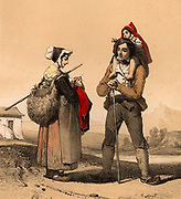Family from Bareges, French Pryenees, in traditional dress. The woman is knitting as she walks.  The barefoot child is on its father's shoulders.   Tinted lithograph from 'Nouvelles Suite de Costumes des Pyrenees' (Paris, c1840).