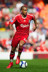 LIVERPOOL, ENGLAND - Sunday, April 11, 2010: Liverpool's David Ngog in action against Fulham during the Premiership match at Anfield. (Photo by: David Rawcliffe/Propaganda)