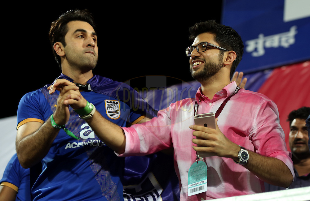 Ranbir Kapoor, actor and co-owner of Mumbai City FC and Aditya Thackeray yuva sena leader during match 7 of the Indian Super League (ISL) season 3 between Mumbai City FC and NorthEast United FC held at the Mumbai Football Arena in Mumbai, India on the 7th October 2016.<br /> <br /> Photo by Sandeep Shetty / ISL/ SPORTZPICS