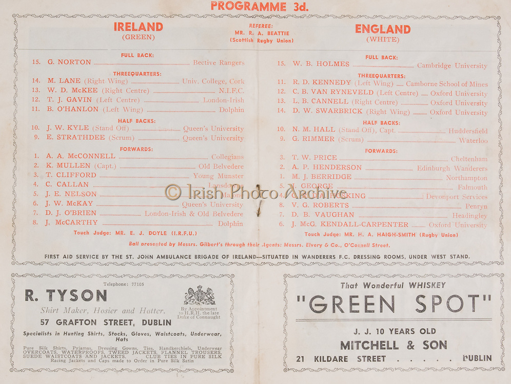Irish Rugby Football Union, Ireland v Enland, Five Nations, Landsdowne Road, Dublin, Ireland, Saturday 12th February, 1949,.12.2.1949, 2.12.1949,..Referee- Mr R A Beattie, Scottich Rugby Union,..Score- Ireland 14 - 5 England,..Irish Team, ..G Norton, Wearing number 15 Irish jersey, Full back, Bective Rangers Rugby Football Club, Dublin, Ireland,  ..M Lane,  Wearing number 14 Irish jersey, Right wing, University college Cork Football Club, Cork, Ireland,  ..W D McKee, Wearing number 13 Irish jersey, Right centre, N.I.F.C, Rugby Football Club, Belfast, Northern Ireland, ..T J Gavin, Wearing number 12 Irish jersey, Left Centre, London Irish Rugby Football Club, Surrey, England, ..B O'Hanlon, Wearing number 11 Irish jersey, Left wing, Dolphin Rugby Football Club, Cork, Ireland, ..J W Kyle, Wearing number 10 Irish jersey, Stand Off, Queens University Rugby Football Club, Belfast, Northern Ireland,..E Strathdee, Wearing number 9 Irish jersey, Scrum, Queens University Rugby Football Club, Belfast, Northern Ireland,..A A McConnell, Wearing number 1 Irish jersey, Forward, Collegians Rugby Football Club, Belfast, Northern Ireland, ..K Mullen, Wearing number 7 Irish Jersey, Captain of the Irish team, Forward, Old Belvedere Rugby Football Club, Dublin, Ireland, ..T Clifford, Wearing number 3 Irish Jersey, Forward, Young Munster Rugby Football Club, Limerick, Ireland, ..C Callan, Wearing number 4 Irish jersey, Forward, Landsdowne Rugby Football Club, Dublin, Ireland, ..J E Nelson, Wearing number 5 Irish jersey, Forward, Malone Rugby Football Club, Belfast, Northern Ireland,..J W McKay, Wearing number 6 Irish jersey, Forward,  Queens University Rugby Football Club, Belfast, Northern Ireland,..D J O'Brien, Wearing number 7 Irish jersey, Forward, London Irish Rugby Football Club, Surrey, England, and, Old Belvedere Rugby Football Club, Dublin, Ireland, ..J McCarthy, Wearing number 8 Irish jersey, Forward, Dolphin Rugby Football Club, Cork, Ireland, ..English Team, ..W B Holmes, Wea