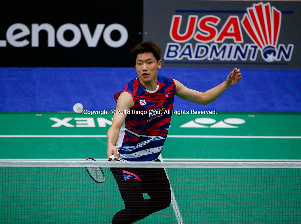 Lee Dong Keun of Korea, competes against Khosit Phetpradab of Thailand, during the men's singles semi final match at the U.S. Open Badminton Championships on Saturday, June 16, 2018 in Fullerton, California.  Lee won 2-1 advance to final. (Photo by Ringo Chiu)<br /> <br /> Usage Notes: This content is intended for editorial use only. For other uses, additional clearances may be required.