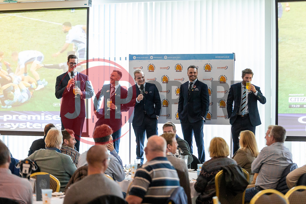 Ollie Atkins, Nic White, Stuart Townsend, Phil Dollman and Santiago Cordero talk in the Exeter Suite prior to kick off - Mandatory by-line: Ryan Hiscott/JMP - 03/11/2018 - RUGBY - Sandy Park Stadium - Exeter, England - Exeter Chiefs v Bath Rugby - Premiership Rugby Cup