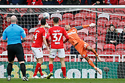 Middlesbrough goalkeeper Darren Randolph (23) makes a save during the EFL Sky Bet Championship match between Middlesbrough and Derby County at the Riverside Stadium, Middlesbrough, England on 27 October 2018.
