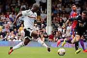 Fulham striker, Sone Aluko scoring opening goal, 1-0 during the Pre-Season Friendly match between Fulham and Crystal Palace at Craven Cottage, London, England on 30 July 2016. Photo by Matthew Redman.