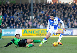 Liam Sercombe of Bristol Rovers is challenged by Funso Ojo of Scunthorpe United - Mandatory by-line: Neil Brookman/JMP - 24/02/2018 - FOOTBALL - Memorial Stadium - Bristol, England - Bristol Rovers v Scunthorpe United - Sky Bet League One