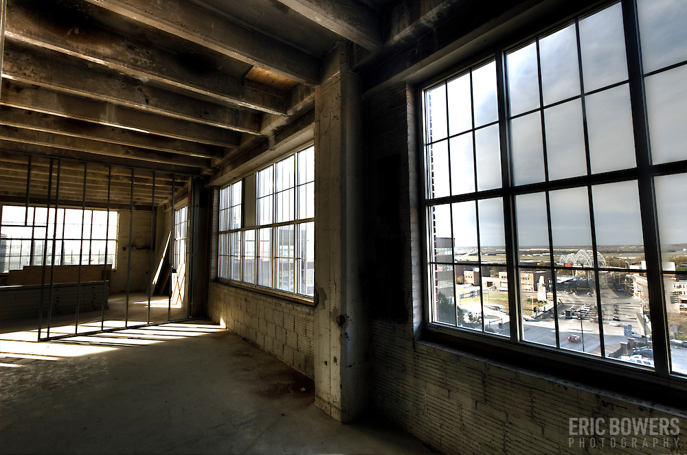 Inside the former Folgers Coffee Plant at 8th & Broadway, downtown Kansas City, Missouri, undergoing renovations into loft apartments by O'Reilly Development Company.