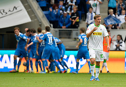 15.09.2013, Rhein Neckar Arena, Sinsheim, GER, 1. FBL, TSG 1899 Hoffenheim vs Borussia Moenchengladbach, 5. Runde, im Bild Tor 2:0 durch Kevin Volland TSG 1899 Hoffenheim Torjubel, Jubel, Freude, Emotion, Max Kruse Borussia Moenchengladbach enttaeuscht Enttaeuschung , TSG 1899 Hoffenheim vs Borussia Moenchengladbach , Fussball Herren GER , 1. Bundesliga Spieltag 05, Saison 2013 2014 Sinsheim-Hoffenheim Wirsol Rhein-Neckar-Arena, 15.09.2013 // during the German Bundesliga 5th round match between TSG 1899 Hoffenheim and Borussia Moenchengladbach at the Rhein Neckar Arena, Sinsheim, Germany on 2013/09/15. EXPA Pictures © 2013, PhotoCredit: EXPA/ Eibner/ Michael Weber<br /> <br /> ***** ATTENTION - OUT OF GER *****
