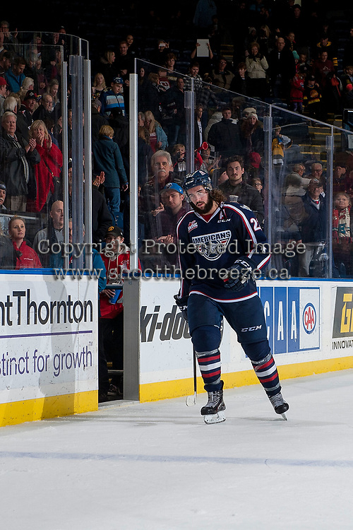 KELOWNA, CANADA - JANUARY 3: Nolan Yaremko #22 of the Tri-City Americans skates to accept the second star of the game against the Kelowna Rockets on January 3, 2017 at Prospera Place in Kelowna, British Columbia, Canada.  (Photo by Marissa Baecker/Shoot the Breeze)  *** Local Caption ***