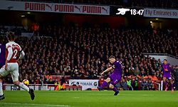 LONDON, ENGLAND - Saturday, November 3, 2018: Liverpool's captain James Milner scores the first goal during the FA Premier League match between Arsenal FC and Liverpool FC at Emirates Stadium. (Pic by David Rawcliffe/Propaganda)