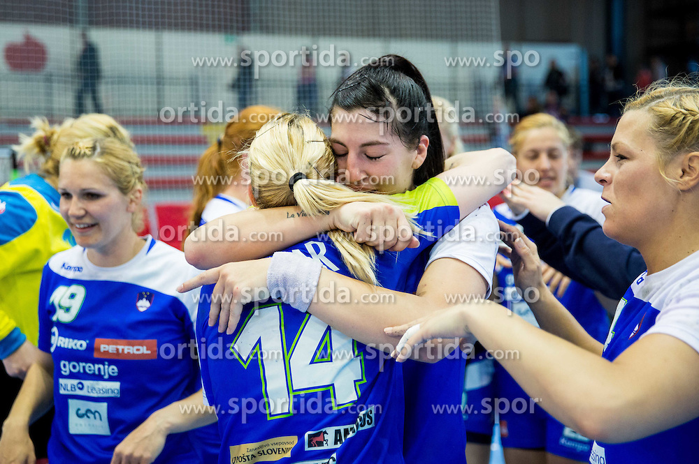 Tamara Mavsar and Maja Son of Slovenia celebrate after winning during handball game between Women National Teams of Slovenia and Switzerland in 2014 Women's European Championship Qualification, on March 30, 2014 in Arena Kodeljevo, Ljubljana, Slovenia. Photo by Vid Ponikvar / Sportida