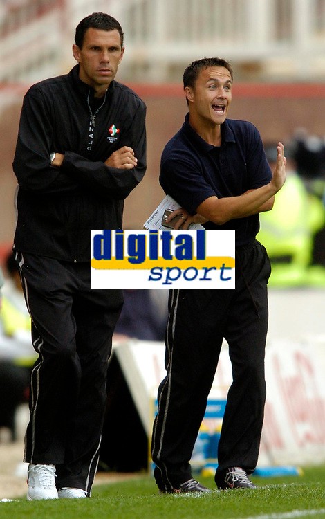 Photo: Richard Lane.<br />Swindon Town v Reading. Pre Season Friendly. 29/07/2006. <br />Swindon's manager, Dennis Wise (rt) with his assistant, Gus Poyet.