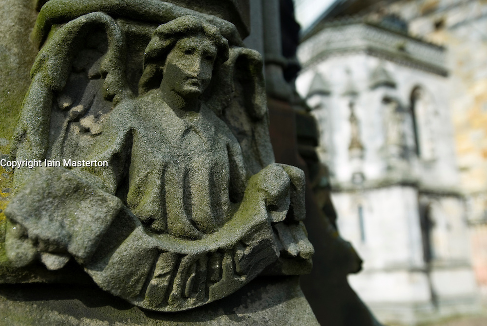 Stone carving with message Hope a ancient Roslin Chapel near edinburgh in Scotland